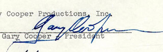 GARY COOPER - CONTRACT SIGNED 10/08/1959