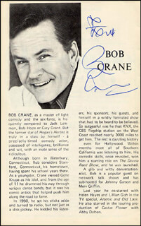 Autographs: BOB CRANE - PROGRAM SIGNED
