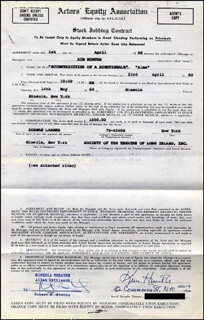 KIM HUNTER - CONTRACT SIGNED 04/01/1968