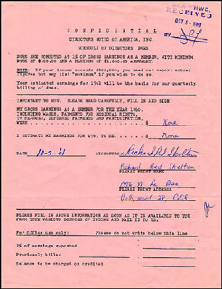RED SKELTON - DOCUMENT SIGNED 10/03/1961