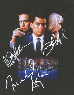 WALL STREET MOVIE CAST - AUTOGRAPHED SIGNED PHOTOGRAPH CO-SIGNED BY: MICHAEL DOUGLAS, DARYL HANNAH, CHARLIE SHEEN