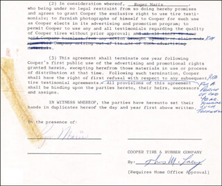 ROGER MARIS - DOCUMENT FRAGMENT SIGNED CIRCA 1962