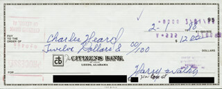 HARRY THE HAT WALKER - AUTOGRAPHED SIGNED CHECK 02/01/1988