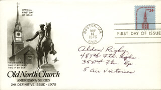 ALDEN RIGBY - FIRST DAY COVER SIGNED