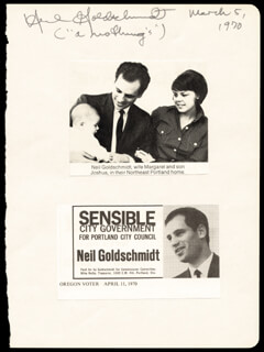 GOVERNOR NEIL GOLDSCHMIDT - AUTOGRAPH 03/05/1970
