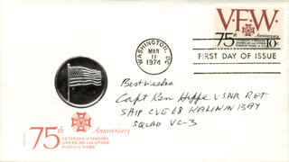 CAPTAIN KEN HIPPE - FIRST DAY COVER WITH AUTOGRAPH SENTIMENT SIGNED