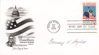 BARNEY F. HAJIRO - FIRST DAY COVER SIGNED
