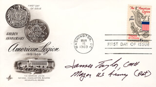 JAMES A. TAYLOR - FIRST DAY COVER SIGNED
