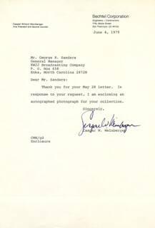 Autographs: CASPAR W. WEINBERGER - TYPED LETTER SIGNED 06/04/1979