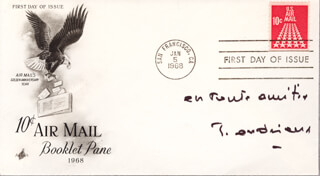 JACQUES ANDRIEUX - FIRST DAY COVER WITH AUTOGRAPH SENTIMENT SIGNED