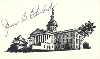 GOVERNOR JAMES B. EDWARDS - PRINTED CARD SIGNED IN INK