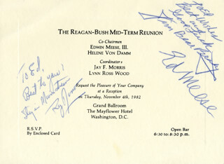 EDWIN MEESE III - AUTOGRAPH NOTE SIGNED 11/04/1982 CO-SIGNED BY: JAMES S. THE BEAR BRADY