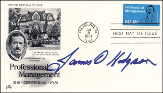 Autographs: JAMES D. HODGSON - FIRST DAY COVER SIGNED