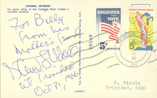 Autographs: STEWART L. UDALL - AUTOGRAPH NOTE ON PICTURE POSTCARD SIGNED 10/31/1966