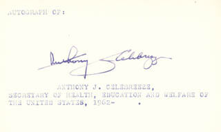 Autographs: ANTHONY J. CELEBREZZE - SIGNATURE(S)