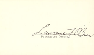 Autographs: LAWRENCE LARRY O'BRIEN - PRINTED CARD SIGNED IN INK