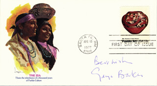 GEORGE BAKER - FIRST DAY COVER WITH AUTOGRAPH SENTIMENT SIGNED
