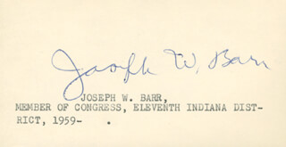 JOSEPH W. BARR - PRINTED CARD SIGNED IN INK