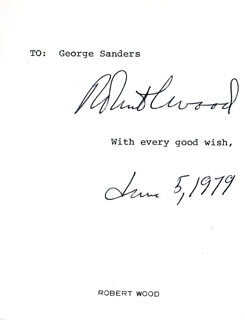 ROBERT COLDWELL WOOD - TYPED SENTIMENT SIGNED 06/05/1979