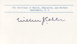Autographs: WILBUR J. COHEN - PRINTED CARD SIGNED IN INK