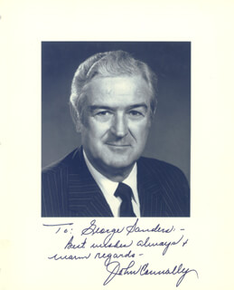 Autographs: JOHN B. CONNALLY JR. - INSCRIBED PHOTOGRAPH SIGNED