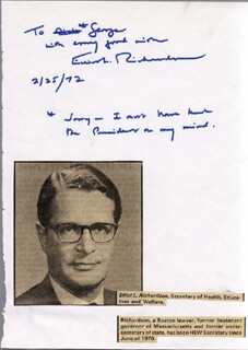 Autographs: ELLIOT L. RICHARDSON - AUTOGRAPH NOTE SIGNED 02/25/1972