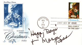 MARION ROSS - FIRST DAY COVER WITH AUTOGRAPH SENTIMENT SIGNED