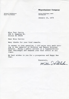WILLIAM D. RUCKELSHAUS - TYPED LETTER SIGNED 01/22/1979