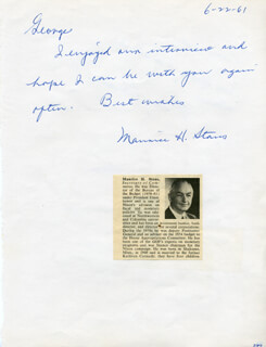 MAURICE H. STANS - AUTOGRAPH NOTE SIGNED 06/22/1961 CO-SIGNED BY: G. BURROUGHS MIDER