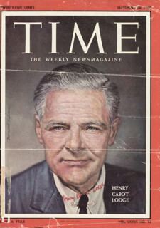 Autographs: HENRY CABOT LODGE JR. - MAGAZINE COVER SIGNED