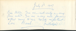 BASIL RATHBONE - AUTOGRAPH NOTE SIGNED 07/03/1947 CO-SIGNED BY: PERCY J. ORTHWEIN, CLARA B. ORTHWEIN