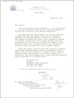 Autographs: JOHN A. VOLPE - TYPED LETTER SIGNED 10/12/1973