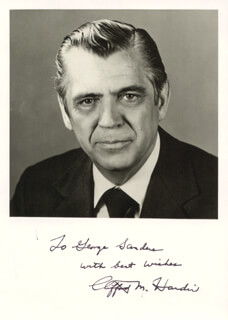 Autographs: CLIFFORD M. HARDIN - INSCRIBED PHOTOGRAPH SIGNED