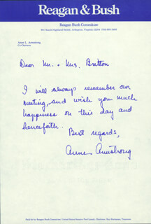 ANNE ARMSTRONG - AUTOGRAPH LETTER SIGNED