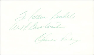 CHARLES G. BEBE REBOZO - AUTOGRAPH NOTE SIGNED