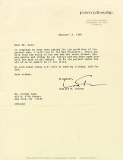CHARLES CHUCK COLSON - TYPED LETTER SIGNED 01/15/1980
