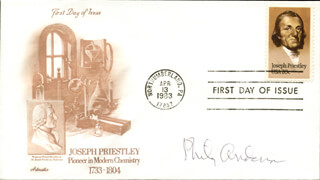 PHILIP W. ANDERSON - FIRST DAY COVER SIGNED