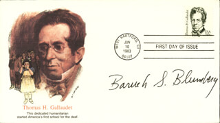 Autographs: BARUCH S. BLUMBERG - FIRST DAY COVER SIGNED