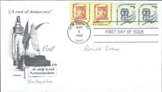 Autographs: RONALD H. COASE - FIRST DAY COVER SIGNED