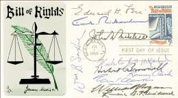 JOHN N. MITCHELL - FIRST DAY COVER SIGNED CO-SIGNED BY: WILLIAM P. ROGERS, RICHARD G. KLEINDIENST, RAMSEY CLARK, ASSOCIATE JUSTICE TOM C. CLARK, EDWARD H. LEVI, ELLIOT L. RICHARDSON, NICHOLAS DEB KATZENBACH