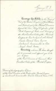 KING EDWARD VIII - DOCUMENT SIGNED 01/01/1919