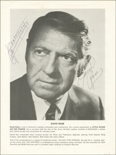 DAVID ROSE - AUTOGRAPH MUSICAL QUOTATION ON PHOTO SIGNED