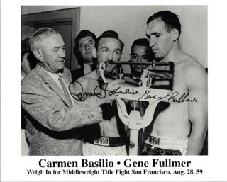 CARMEN BASILIO - PRINTED PHOTOGRAPH SIGNED IN INK CO-SIGNED BY: GENE CYCLONE FULLMER