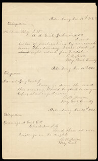 Autographs: MAJOR GENERAL GUSTAVUS W. SMITH - DOCUMENT MULTI-SIGNED 12/14/1862