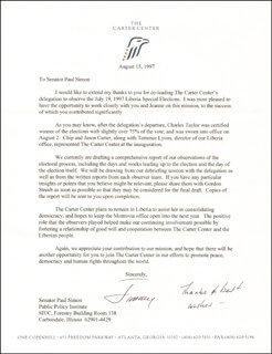 PRESIDENT JAMES E. JIMMY CARTER - TYPED LETTER SIGNED 08/15/1997