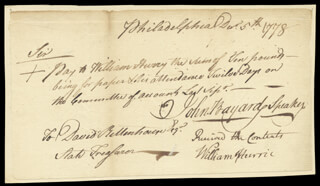 Autographs: JOHN BAYARD - MANUSCRIPT DOCUMENT SIGNED 12/05/1778