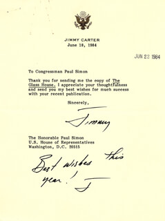 PRESIDENT JAMES E. JIMMY CARTER - TYPED LETTER SIGNED 06/18/1984
