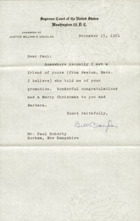 ASSOCIATE JUSTICE WILLIAM O. DOUGLAS - TYPED LETTER SIGNED 12/15/1961