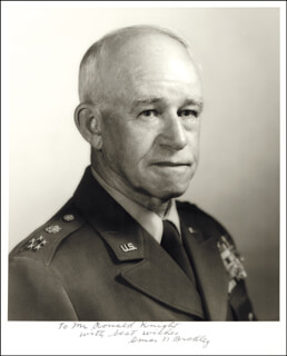 Autographs: GENERAL OMAR N. BRADLEY - INSCRIBED PHOTOGRAPH SIGNED