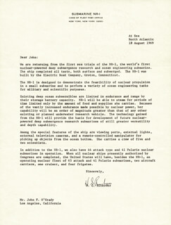 ADMIRAL HYMAN G. RICKOVER - TYPED LETTER SIGNED 08/18/1969